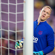 BARCELONA, SPAIN - August 25:  Goalkeeper Marc-André ter Stegen #1 of Barcelona during team warm ups before the Barcelona V  Real Betis, La Liga regular season match at  Estadio Camp Nou on August 25th 2019 in Barcelona, Spain. (Photo by Tim Clayton/Corbis via Getty Images)