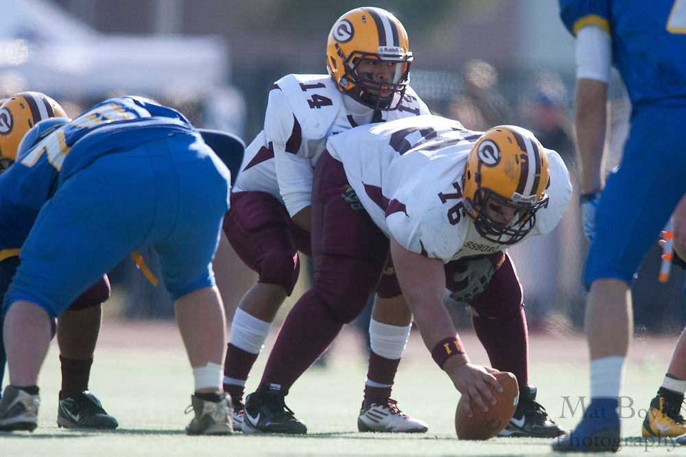 Glassboro High School's Tom Rementer (76); Glassboro High School's Michael Gillespie (14)..NJSIAA South Jersey Group 1 Title match between Pennsville High School and Glassboro High School held at Coach Richard Wacker Stadium on the campus of Rowan University in Glassboro, NJ on Saturday, December 3, 2011. (photo: Mat Boyle)