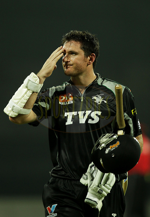 Pune Warriors player Graeme Smith walks back dejectedly after getting out during  match 10 of the Indian Premier League ( IPL ) Season 4 between the Pune Warriors and the Kochi Tuskers Kerala held at the Dr DY Patil Sports Academy, Mumbai India on the 13th April 2011..Photo by BCCI/SPORTZPICS