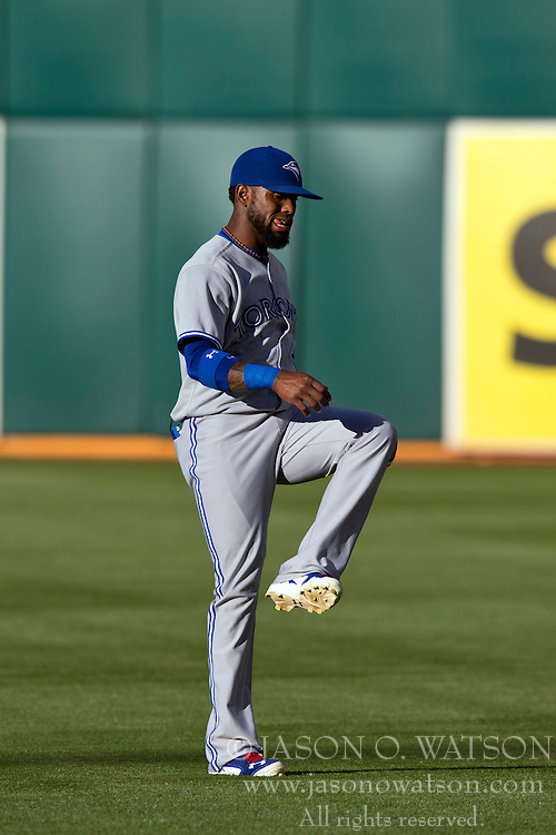 OAKLAND, CA - JULY 05:  Jose Reyes #7 of the Toronto Blue Jays warms up on the field before the game against the Oakland Athletics at O.co Coliseum on July 5, 2014 in Oakland, California. The Oakland Athletics defeated the Toronto Blue Jays 5-1.  (Photo by Jason O. Watson/Getty Images) *** Local Caption *** Jose Reyes