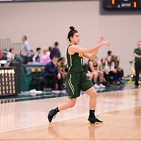 1st year guard Carolina Goncalves (8) of the Regina Cougars in action during the Women's Basketball Playoff Game on February  16 at Centre for Kinesiology, Health and Sport. Credit: Arthur Ward/Arthur Images