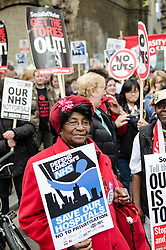 © Licensed to London News Pictures. 18/05/2013. London, UK. Protestors marching in central London against the Government's changes to the Health Service and planned closures to services across London.   Backed by Unite the Union, the Save Lewisham Hospital Campaign and MPs including Andy Slaughter and Steve Pound. Photo credit : Richard Isaac/LNP