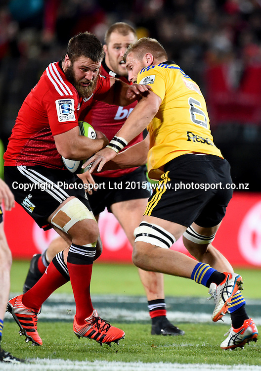 Crusaders player Ben Funnell during their Investec Super Rugby game Crusaders v Hurricanes. Trafalgar Park, Nelson, New Zealand. Friday 29 May 2015. Copyright Photo: Chris Symes / www.photosport.co.nz