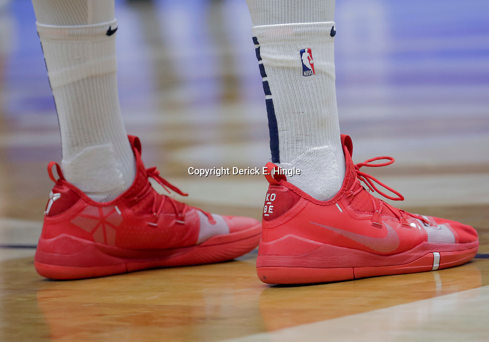 Nov 28, 2018; New Orleans, LA, USA; Shoes worn by New Orleans Pelicans forward Anthony Davis against the Washington Wizards during the second quarter at the Smoothie King Center. Mandatory Credit: Derick E. Hingle-USA TODAY Sports