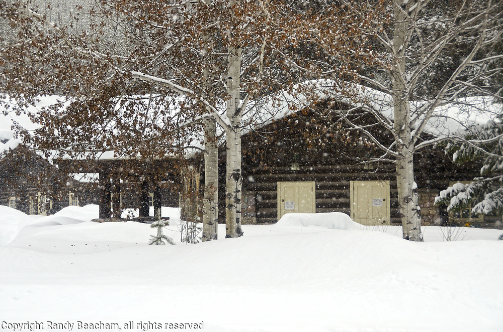 Snowstorm at Polebridge Ranger Station in 2017 winter. Glacier National Park, northwest Montana.