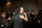 Jennifer Morrison and Giambattista Valli  , Backstage Giambattista Valli show. Espace Jardin du Louvre. Paris. October 4 2007. -DO NOT ARCHIVE-© Copyright Photograph by Dafydd Jones. 248 Clapham Rd. London SW9 0PZ. Tel 0207 820 0771. www.dafjones.com.