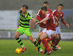 Christian Doidge of Forest Green Rovers tries to hold off Eddie Nolan of Crewe Alexandra -Mandatory by-line: Nizaam Jones/JMP - 18/11/2017 - FOOTBALL - New Lawn Stadium - Nailsworth, England - Forest Green Rovers v Crewe Alexandre-Sky Bet League Two