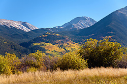 Golden aspens color the flanks of Twin Lakes, west of Granite on Colorado State Highway 82 and one of the highlights of the state's Top of the Rockies Scenic Byway.
