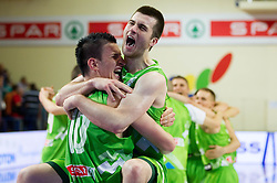 Alen Omic of Slovenia and Marko Pajic of Slovenia celebrate after winning the basketball match between National teams of Sweden and Slovenia in First Round of U20 Men European Championship Slovenia 2012, on July 13, 2012 in Domzale, Slovenia. Slovenia defeated Sweden 70-69. (Photo by Vid Ponikvar / Sportida.com)