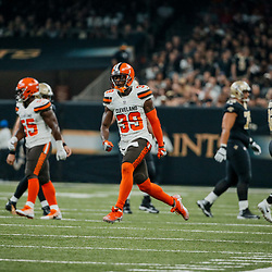 Sep 16, 2018; New Orleans, LA, USA; Cleveland Browns cornerback Terrance Mitchell (39) celebrates after a turnover by the New Orleans Saints during the second quarter of a game at the Mercedes-Benz Superdome. Mandatory Credit: Derick E. Hingle-USA TODAY Sports