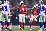 ARLINGTON, TX - AUGUST 26:  D.J. Humphries #74 of the Arizona Cardinals at the line of scrimmage during a game against the Dallas Cowboys at AT&T Stadium during week 3 of the preseason on August 26, 2018 in Arlington, Texas.  The Cardinals defeated the Cowboys 27-3.  (Photo by Wesley Hitt/Getty Images) *** Local Caption *** D.J. Humphries
