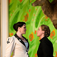 Picture shows : Kate Valentine (white dress) as Karolina and Jane Irwin (black dress) as Ane?ka...Picture  ©  Drew Farrell Tel : 07721 ?735041.THE TWO WIDOWS by  Smetana.A SCOTTISH OPERA AND EDINBURGH INTERNATIONAL FESTIVAL CO-PRODUCTION.Premiering at the Edinburgh International Festival, this brand new production stars Scottish soprano Kate Valentine and internationally renowned mezzo Jane Irwin..The directorial partnership between Tobias Hoheisel and Imogen Kogge transforms this delicate comedy into something that digs deeper without losing its inherent charm. Francesco Corti conducts this, his first production as Music Director of Scottish Opera...Kate Valentine as Karolina Záleská.Jane Irwin as Ane?ka Miletinská?Nicholas Folwell as Mumlal?David Pomeroy as Ladislav Podhajsky?Ben Johnson as Toník, a peasant?Rebecca Ryan as Lidka, a maid.?Conductor..Francesco Corti.Directors ..         Tobias Hoheisel & Imogen Kogge.Designer..         Tobias Hoheisel.Lighting..         Peter Mumford.Choreographer  .Kally Lloyd-Jones.Dramaturg..Micaela von Marcard..Performances :.Edinburgh Festival Theatre?9 ? 11 ? 12  August?Theatre Royal, Glasgow?10 ?  14 ? 17 ? October?Note to Editors:  This image is free to be used editorially in the promotion of Scottish Opera and The Edinburgh International Festival. Without prejudice ALL other licences without prior consent will be deemed a breach of copyright under the 1988. Copyright Design and Patents Act  and will be subject to payment or legal action, where appropriate..Further further information please contact Kerryn Hurley Scottish Opera Press Manager t:   0141 242 0511. Or contact The Edinburgh International Festival Press Office  +44 (0)131 473 2020.