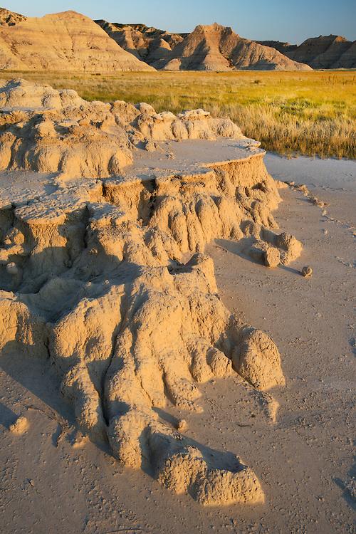 Erosion, grassland in the Badlands National Park, Stronghold unit, South Dakota, USA