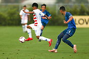 Team USA forward Osvaldo Reyes (7) intercepts a pass during a CONCACAF boys under-15 championship soccer game, Monday, Aug. 5, 2019, in Bradenton, Fla. The USA defeated Guatemala  2-0 (Kim Hukari/Image of Sport)