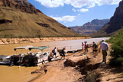 Scenic, Grand Canyon, Day Rafting trip, pontoon boat, on the Colorado River, Arizona, AZ, cliffs, landscape, horizontal, arid, erosion, nature, muddy water,  mooring, no model release, Image nv458-18544..Photo copyright: Lee Foster, www.fostertravel.com, lee@fostertravel.com, 510-549-2202
