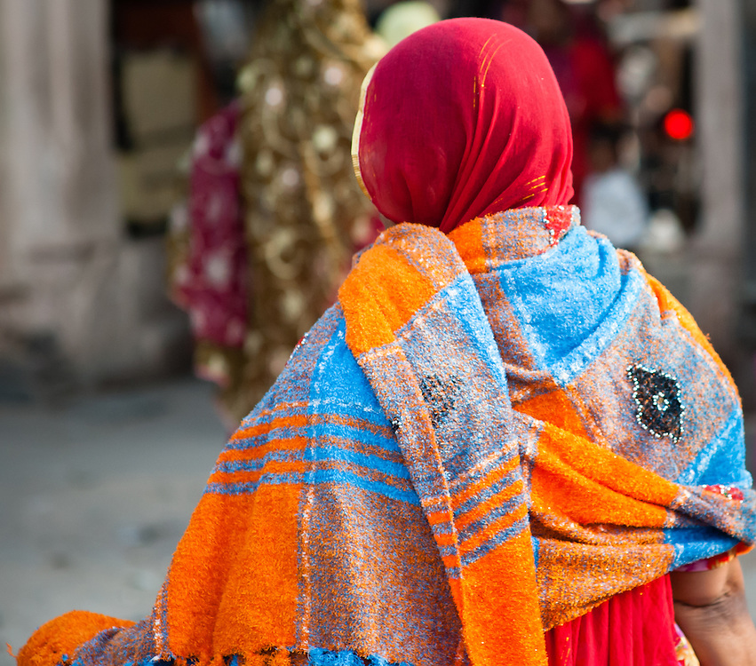 Woman in colorful sari (India)