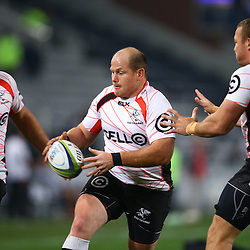 DURBAN, SOUTH AFRICA - JULY 15: Lourens Adriaanse of the Cell C Sharks during the Super Rugby match between the Cell C Sharks and Sunwolves at Growthpoint Kings Park on July 15, 2016 in Durban, South Africa. (Photo by Steve Haag/Gallo Images)