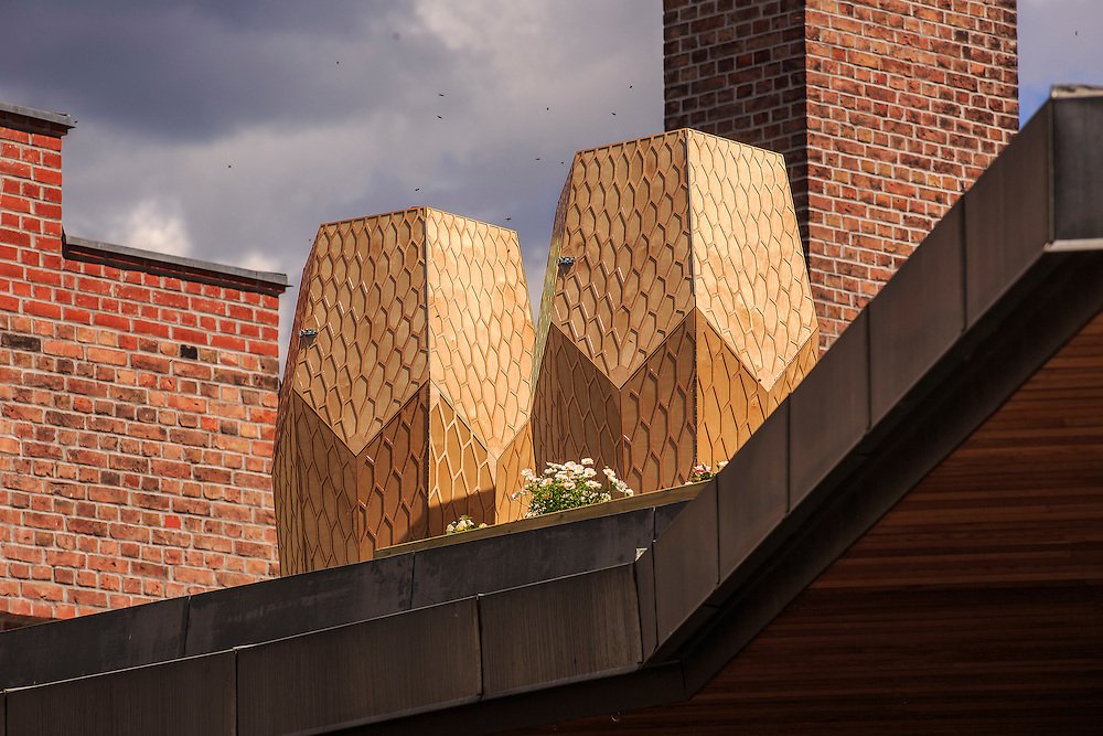Snøhetta-designed beehives at Vulkan in Oslo