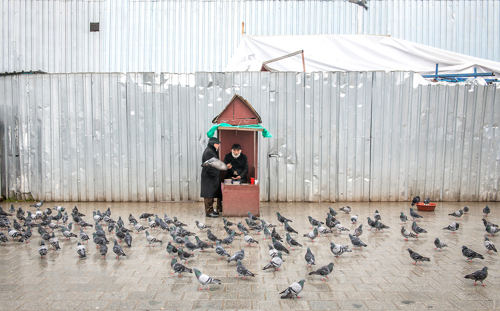 Two adult males converse outside while feeding pigeons on a rainy day in Istanbul, Turkey.
