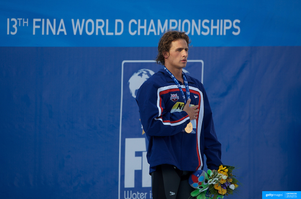 Ryan Lochte, USA, Gold medal winner of the Men's 200m IM at World Swimming Championships in Rome on Thursday, July 30, 2009. Photo Tim Clayton