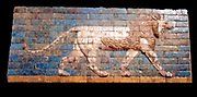 Ceramic glazed panel with walking lion from Babylon, Mesopotamia. Neo-Babylonian ca. 604–562 B.C. During the reign of Nebuchadnezzar II (r. 604–562 B.C.), the Neo-Babylonian empire reached its peak. Glazed bricks were used for building. These panels decorated the city's gates and buildings.