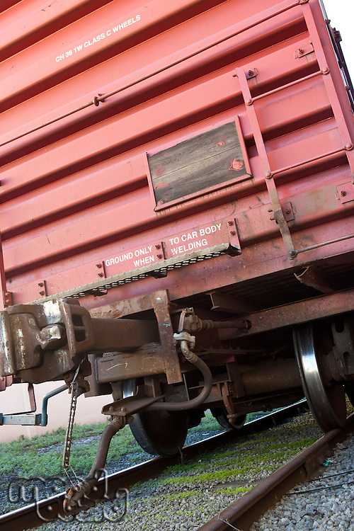 Close up view of industrial railway carriage