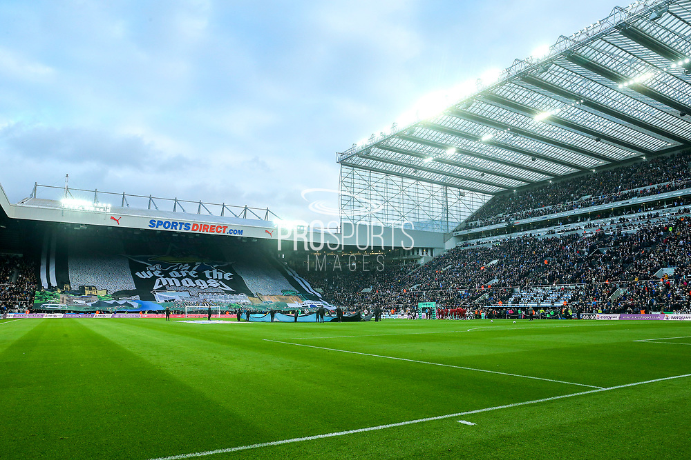 Newcastle United fans display a huge banner in the Gallowgate Stand ahead of the Premier League match between Newcastle United and Liverpool at St. James's Park, Newcastle, England on 4 May 2019.