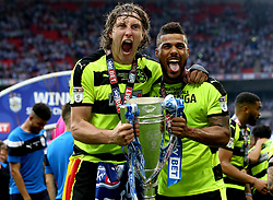 Free to use courtesy of Sky Bet - Michael Hefele of Elias Kachunga of Huddersfield Town celebrate winning the Sky Bet Championship Playoff Final and promotion to the Premier League - Mandatory by-line: Robbie Stephenson/JMP - 29/05/2017 - FOOTBALL - Wembley Stadium - London, England - Huddersfield Town v Reading - Sky Bet Championship Play-off Final