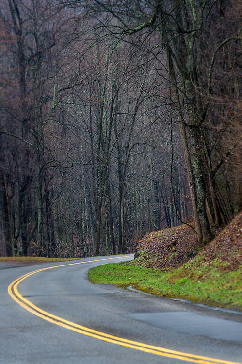 View of route in the Smoky Mountains National Park during winter time.