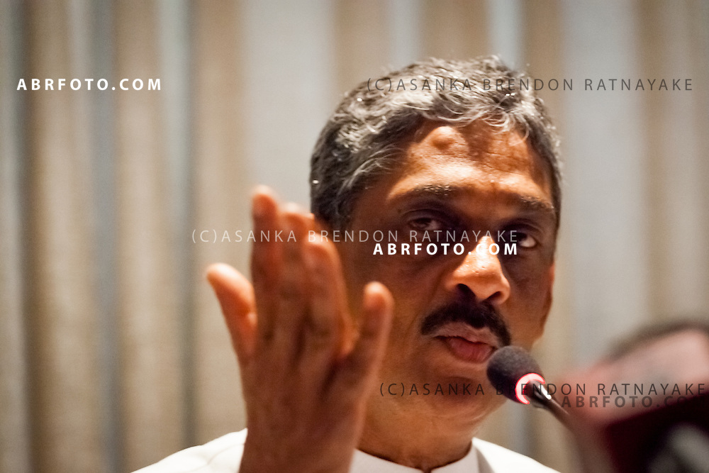Sarath Fonseka addresses the Press the day following the presidential election where Sarath Fonseka was effectively held under house arrest at the Cinnamon Lakeside hotel, a 5 star hotel in Colombo Sri Lanka.