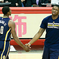 04 December 2016: Indiana Pacers guard Glenn Robinson III (40) is congratulated by Indiana Pacers center Kevin Seraphin (1) during the Indiana Pacers 111-102 victory over the LA Clippers, at the Staples Center, Los Angeles, California, USA.