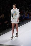 A white and pastel skirt outfit by Richard Chai at the Spring 2013 Mercedes Benz Fashion Week show in New York.