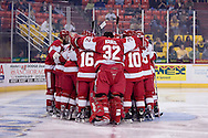 October 13, 2007 - Anchorage, Alaska:  Boston University huddles around the goal prior to the 4th game of the Nye Frontier Classic at the Sullivan Arena.