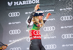 Winner SHIFFRIN Mikaela of USA celebrates with champagne during Trophy ceremony after the 7th Ladies'  Slalom at 55th Golden Fox - Maribor of Audi FIS Ski World Cup 2018/19, on February 2, 2019 in Pohorje, Maribor, Slovenia. Photo by Matic Ritonja / Sportida