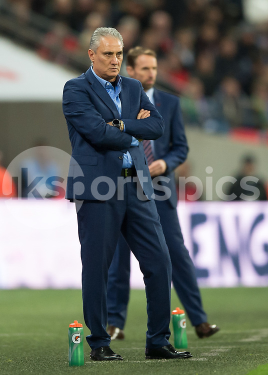 Tite (Adenor Leonardo Bacchi) manager of Brazil during the International Friendly match between England and Brazil at Wembley Stadium, London, England on 14 November 2017. Photo by Vince Mignott.