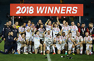England Rugby League celebrate winning the Baskerville Shield  2018 following a 2-1 series win over New Zealand during the Autumn International Series match at Elland Road, Leeds<br /> Picture by Stephen Gaunt/Focus Images Ltd +447904 833202<br /> 11/11/2018