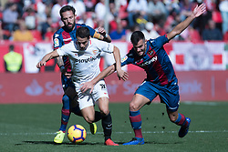 January 26, 2019 - Sevilla, Andalucia, Spain - Ben Yedder of Sevilla FC and Rober Pier and Morales of Levante UD competes for the ball during the La Liga match between Sevilla FC v Levante UD at the Ramon Sanchez Pizjuan Stadium on January 26, 2019 in Sevilla, Spain  (Credit Image: © Javier MontañO/Pacific Press via ZUMA Wire)