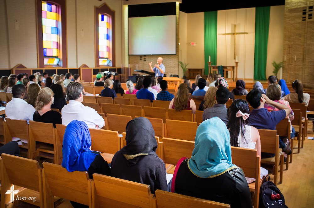 Students sit during chapel service in Graebner Memorial Chapel on the campus of Concordia University, Saint Paul, on Wednesday, August 6, 2014, in St. Paul, Minn.   LCMS Communications/Erik M. Lunsford