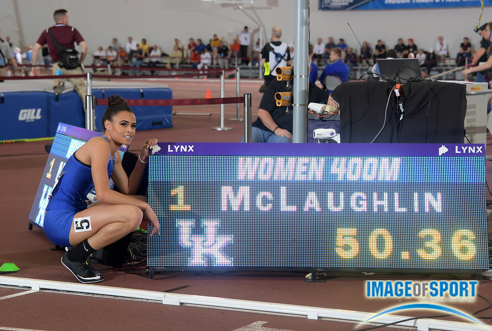 Mar 10, 2018; College Station, TX, USA; Sydney McLaughlin of Kentucky poses after winning the women's 400m heat in a world under age 20 record 50.36 during the NCAA Indoor Track and Field Championships at the McFerrin Athletic Center.