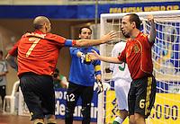 Fussball  International  FIFA  FUTSAL WM 2008   03.10.2008 Vorrunde Gruppe D Libya - Spain Lybien - Spanien Torschuetze ALVARO (re, ESP) und JAVI RODRIGUEZ (ESP) jubeln nach dem Tor.