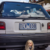A female dolls head stuck on the tow bar of an Australian truck in Melbourne
