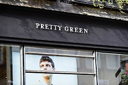 © Licensed to London News Pictures. 09/03/2019. LONDON, UK.  The exterior signage of the Pretty Green menswear store on Carnaby Street. Pretty Green, founded by Oasis singer Liam Gallagher, has called in advisers to review options for the future of the business.  The loss making company has suffered further, with both the Chairman and finance director leaving recently.  The company's problems coincide with women's fashion brand LK Bennett entering administration in the last few days.  Photo credit: Stephen Chung/LNP