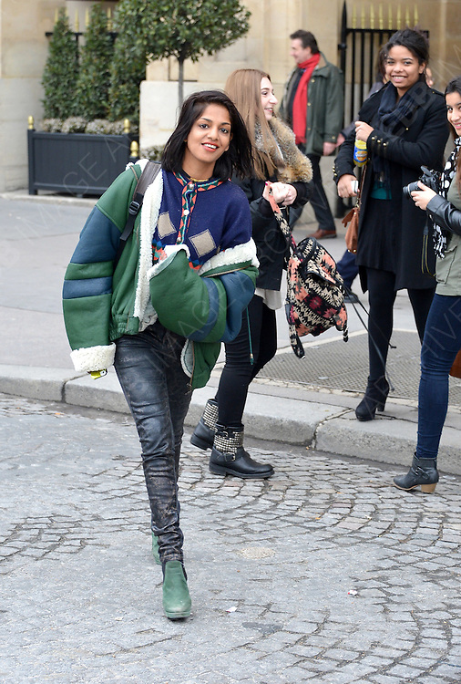 27.FEBRUARY.2013. PARIS<br /> <br /> MATHANGI 'MAYA' ARULPRAGASAM AKA M.I.A IS SPOTTED LEAVING THE CRILLON HOTEL IN PARIS<br /> <br /> BYLINE: EDBIMAGEARCHIVE.CO.UK<br /> <br /> *THIS IMAGE IS STRICTLY FOR UK NEWSPAPERS AND MAGAZINES ONLY*<br /> *FOR WORLD WIDE SALES AND WEB USE PLEASE CONTACT EDBIMAGEARCHIVE - 0208 954 5968*