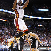 17 January 2012: Miami Heat power forward Chris Bosh (1) dunks the ball during the Miami Heat 120-98 victory over the San Antonio Spurs at the AmericanAirlines Arena, Miami, Florida, USA.