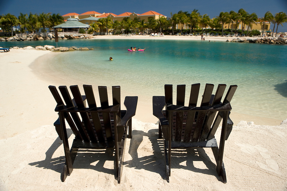 Chairs on beach, Curacao, Netherlands Antilles