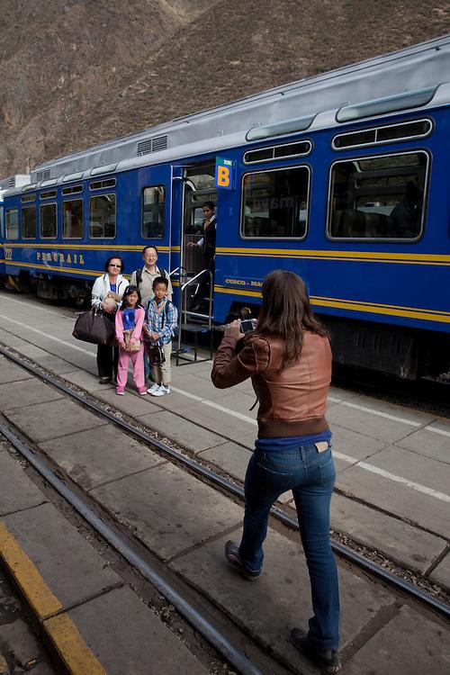 The Peru Rail train from Ollantaytambo to Aguas Calientes in Peru.