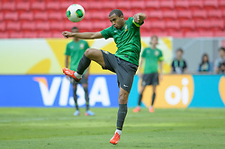 14.06.2013,Mane Garrincha National Stadium Brasilia, BRA, FIFA Confed Cup, Brasilien Training, im Bild // Lucas during the FIFA Confederations Cup Training of Team Brazil at the Mane Garrincha National Stadium Brasilia, Brazil on <br /> 2013/06/14. EXPA Pictures © 2013, PhotoCredit: EXPA/ Marcelo Machado