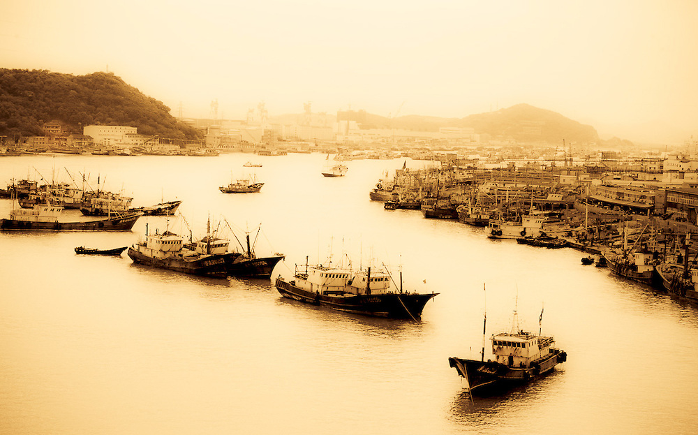 chinese fishing fleet docked in harbor bay,Zhoushsan