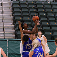 2nd year post Angela Bongomin (14) of the Regina Cougars towers above the defence during the Women's Basketball Preseason game on October 14 at Centre for Kinesiology, Health and Sport. Credit: Arthur Ward/Arthur Images