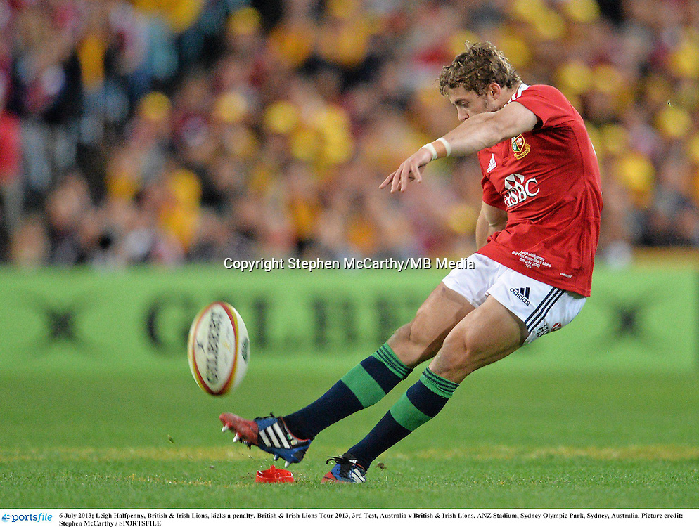6 July 2013; Leigh Halfpenny, British & Irish Lions, kicks a penalty. British & Irish Lions Tour 2013, 3rd Test, Australia v British & Irish Lions. ANZ Stadium, Sydney Olympic Park, Sydney, Australia. Picture credit: Stephen McCarthy / SPORTSFILE